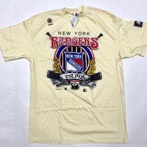 VTG New York Rangers Starter T-Shirt Cream XL